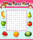 Game template for word puzzle with fruits Royalty Free Stock Photography