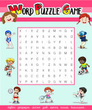Game template for word puzzle with many sports Stock Photography