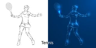 Game of tennis player line drawing stock illustration