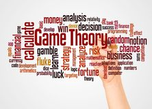 Game theory word cloud and hand with marker concept. On white background vector illustration
