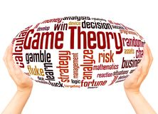 Game theory word cloud hand sphere concept. On white background royalty free illustration