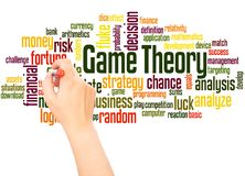 Game theory word cloud hand writing concept. On white background royalty free illustration