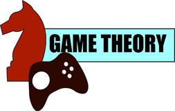 Game Theory word text logo Illustration. A knight and gaming remote concept isolated flat vector. Transparent royalty free illustration