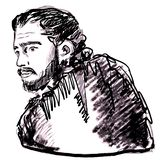 Game of thrones character. Kit Harington in role of Jon Snow. Fantasy literature hero portrait. March, 2019 - Game of thrones character. Kit Harington in role of royalty free illustration