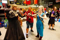 Game Of Thrones Cosplayers At 2017 NYCC 11. The New York Comic Con is an annual New York City fan convention dedicated to comics, graphic novels, anime, manga Stock Photo