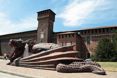 Game of Thrones, Milan 2017. Inside the Sforzesco Castle, on July 15 and 16, 207, a whole Game of Thrones weekend is held in Milan, with the event `The Throne of royalty free stock image