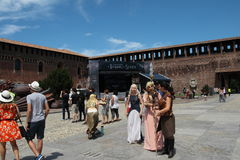 Game of Thrones, Milan 2017. Inside the Sforzesco Castle, on July 15 and 16, 207, a whole Game of Thrones weekend is held in Milan, with the event `The Throne of stock photo