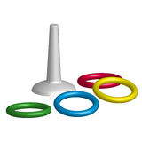 Game throwing rings toys in 3D. Vector stock illustration