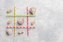 Game TIC TAC toe. Love wins. Saint Valentines Day conception. Top view, flat lay stock photo