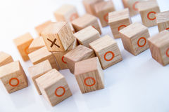 Game of Tic Tac Toe on table. On white table Royalty Free Stock Images