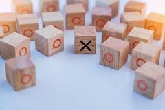 Game of Tic Tac Toe on white table.jpg Royalty Free Stock Photos