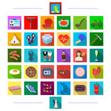 Game, Travel, investigation and other web icon in flat style. restaurant, transportation, entertainment, icons in set. Game, Travel, investigation and other Stock Images