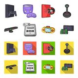 Game and TV set-top box cartoon,flat icons in set collection for design.Game Gadgets vector symbol stock web. Game and TV set-top box cartoon,flat icons in set Royalty Free Stock Photo