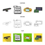 Game and TV set-top box cartoon,outline,flat icons in set collection for design.Game Gadgets vector symbol stock web. Game and TV set-top box cartoon,outline Royalty Free Stock Photography