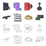 Game and TV set-top box cartoon,outline icons in set collection for design.Game Gadgets vector symbol stock web. Game and TV set-top box cartoon,outline icons in Royalty Free Stock Photos