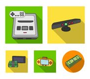 Game and TV set-top box flat icons in set collection for design.Game Gadgets vector symbol stock web illustration. Game and TV set-top box flat icons in set Stock Photography