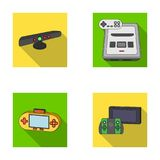 Game and TV set-top box flat icons in set collection for design.Game Gadgets vector symbol stock web illustration. Game and TV set-top box flat icons in set Royalty Free Stock Image