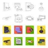 Game and TV set-top box outline,flat icons in set collection for design.Game Gadgets vector symbol stock web. Game and TV set-top box outline,flat icons in set Stock Photo