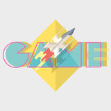 Game. Typographics modern illustration with starship Stock Photography