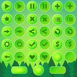 Game UI buttons - green vector elements Royalty Free Stock Photos