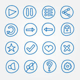 Game UI buttons - set of vector doodle hand drawn Stock Image
