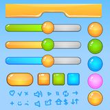 Game UI elements.Colorful buttons and icons Royalty Free Stock Photo