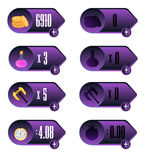 Game UI. Icons with a choice of various parameters of time, money, weapons and elixir design for mobile and browser-based online a. Pplications and games. Vector Royalty Free Stock Photo