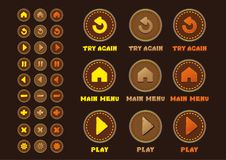 Game UI set buttons interface. stock illustration