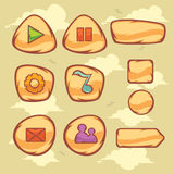 Game UI. Vector set of cartoon object and icons for graphical user interface  to build 2D games Stock Image