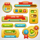 Game user interface elements. Buttons, progress bar, icons and fields for game Stock Images