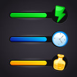 Game vector icons and resource bar set Royalty Free Stock Image