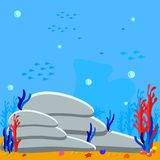 Game vector underwater background cartoon illustration of rocks and seaweed on the sandy bottom. Bubbles water and silhouette fish vector illustration