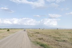 Game viewing trail in the Ol Pejeta Conservancy, Kenya. Ol Pejeta Conservancy is a vast game reserve in Kenya Stock Photos