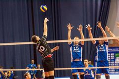 The game of volleyball,. ORENBURG, ORENBURG region, RUSSIA, 1 November, 2014 year. Russian volleyball Cup. Match of the Super League of the Championship of Royalty Free Stock Photo