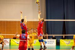 The game of volleyball Stock Images