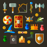 Game weapon icons flat se. T. Weapons, shields, magic, scrolls Royalty Free Stock Photo