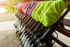 Game weapon paintball, weapons prepared for playing paintball Royalty Free Stock Images