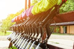 Game weapon paintball, weapons prepared for playing paintball Stock Photo