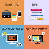 Game, web development and business tools icon set Royalty Free Stock Photo