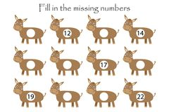 Free Game With Donkeys For Children, Fill In The Missing Numbers, Middle Level, Education Game For Kids, School Worksheet Activity, Stock Photo - 161786420