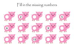 Free Game With Pigs For Children, Fill In The Missing Numbers, Middle Level, Education Game For Kids, School Worksheet Activity, Task Royalty Free Stock Images - 161786459