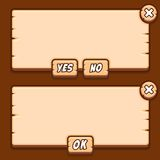 Game wooden menu interface panels buttons stock illustration