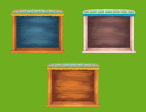 Game wooden shelf windows set Royalty Free Stock Photography