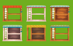 Game wooden shelf windows set Royalty Free Stock Image