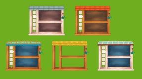 Game wooden shelf windows set Stock Photo