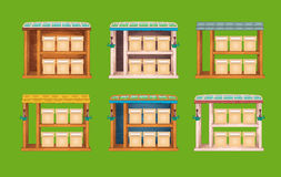 Game wooden store windows set Stock Image