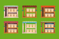 Game wooden store windows set Royalty Free Stock Photos