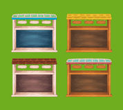 Game wooden store windows set Royalty Free Stock Image