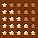 Game wooden web rating stars set Royalty Free Stock Image