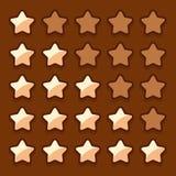Game wooden web rating stars set Royalty Free Stock Image